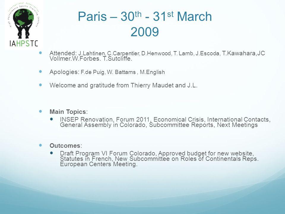 Paris – 30 th - 31 st March 2009 Attended: J.Lahtinen, C.Carpentier, D.Henwood, T. Lamb, J.Escoda, T.Kawahara,JC Vollmer.W.Forbes. T.Sutcliffe. Apolog