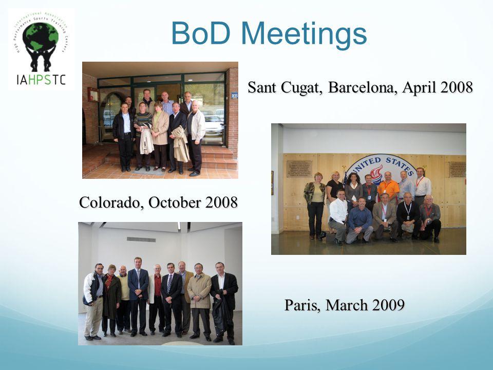 BoD Meetings Paris, March 2009 Colorado, October 2008 Sant Cugat, Barcelona, April 2008