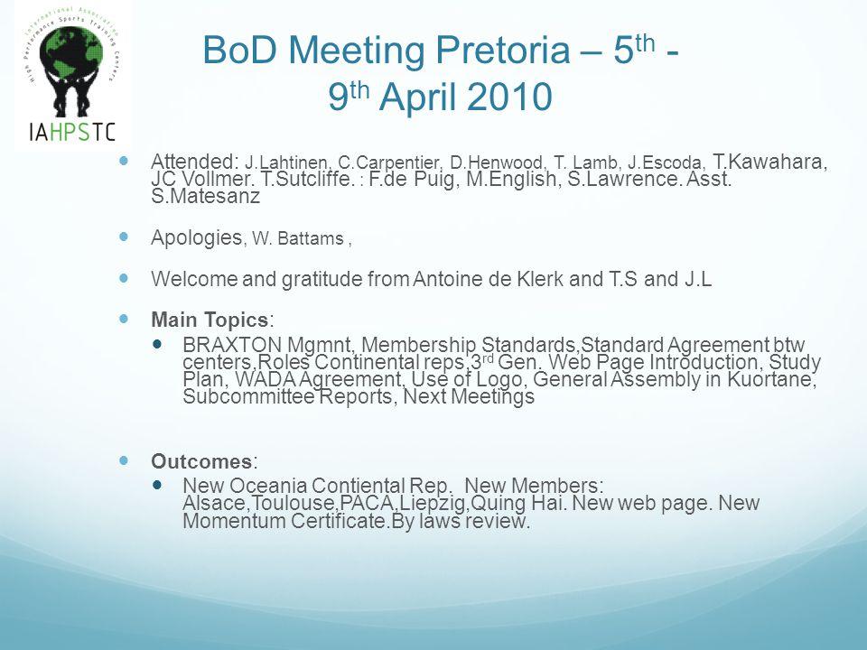 BoD Meeting Pretoria – 5 th - 9 th April 2010 Attended: J.Lahtinen, C.Carpentier, D.Henwood, T. Lamb, J.Escoda, T.Kawahara, JC Vollmer. T.Sutcliffe. :