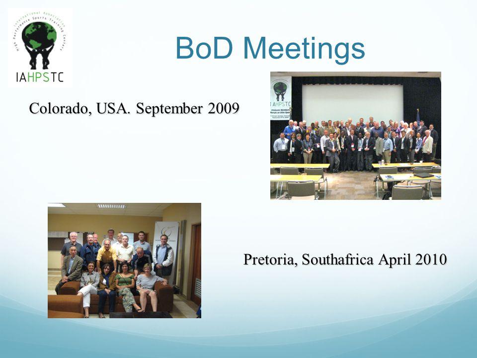 BoD Meetings Pretoria, Southafrica April 2010 Colorado, USA. September 2009
