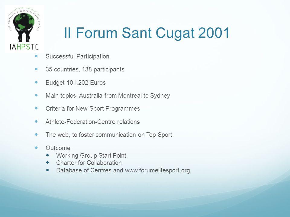 II Forum Sant Cugat 2001 Working Group Start Point