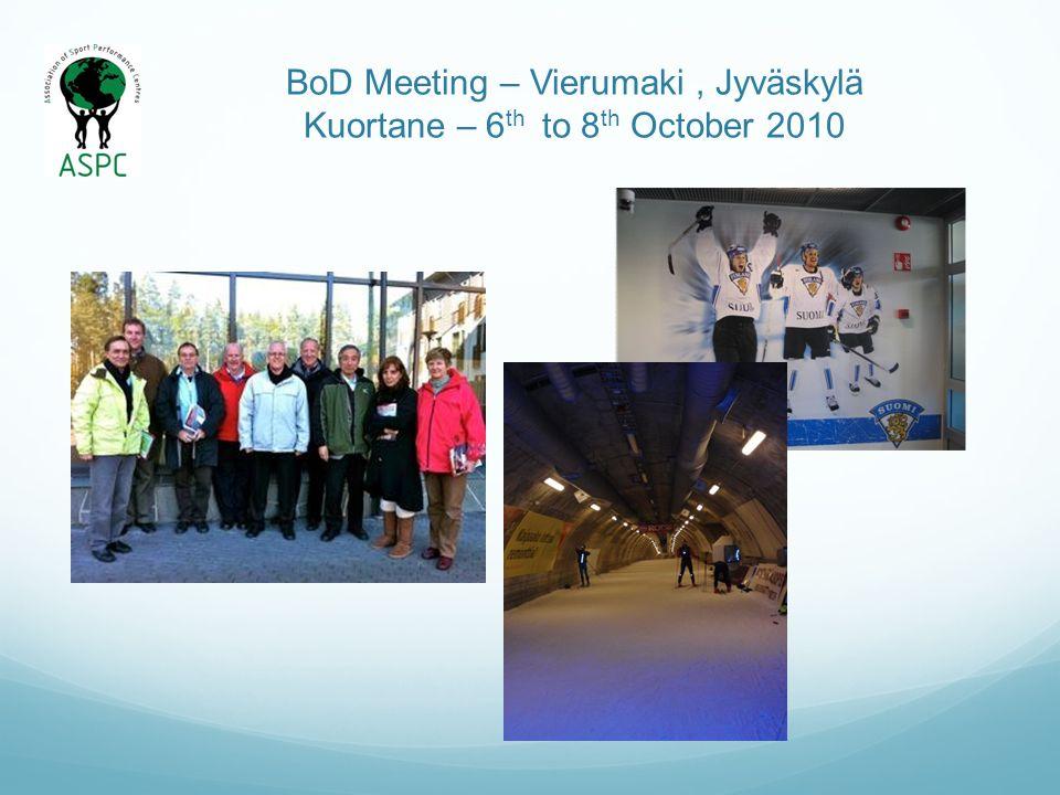 BoD Meeting – Vierumaki, Jyväskylä Kuortane – 6 th to 8 th October 2010