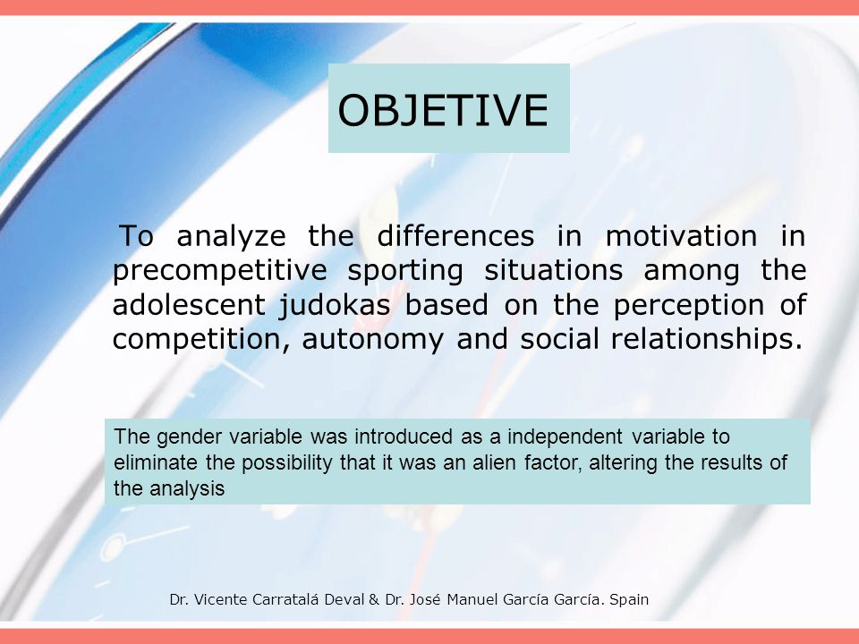 Dr. Vicente Carratalá Deval & Dr. José Manuel García García. Spain OBJETIVE To analyze the differences in motivation in precompetitive sporting situat