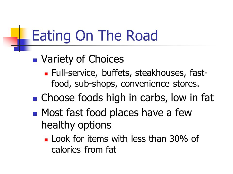 During Training Well balanced diet 30 % fat, 10 –15% protein, 60 % Carbs Endurance sports continue High Carb diets; 70 – 80%