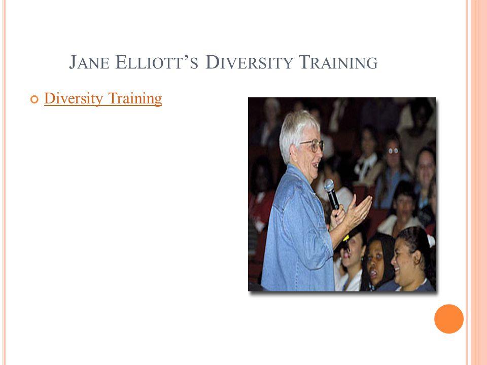 J ANE E LLIOTT S D IVERSITY T RAINING Diversity Training