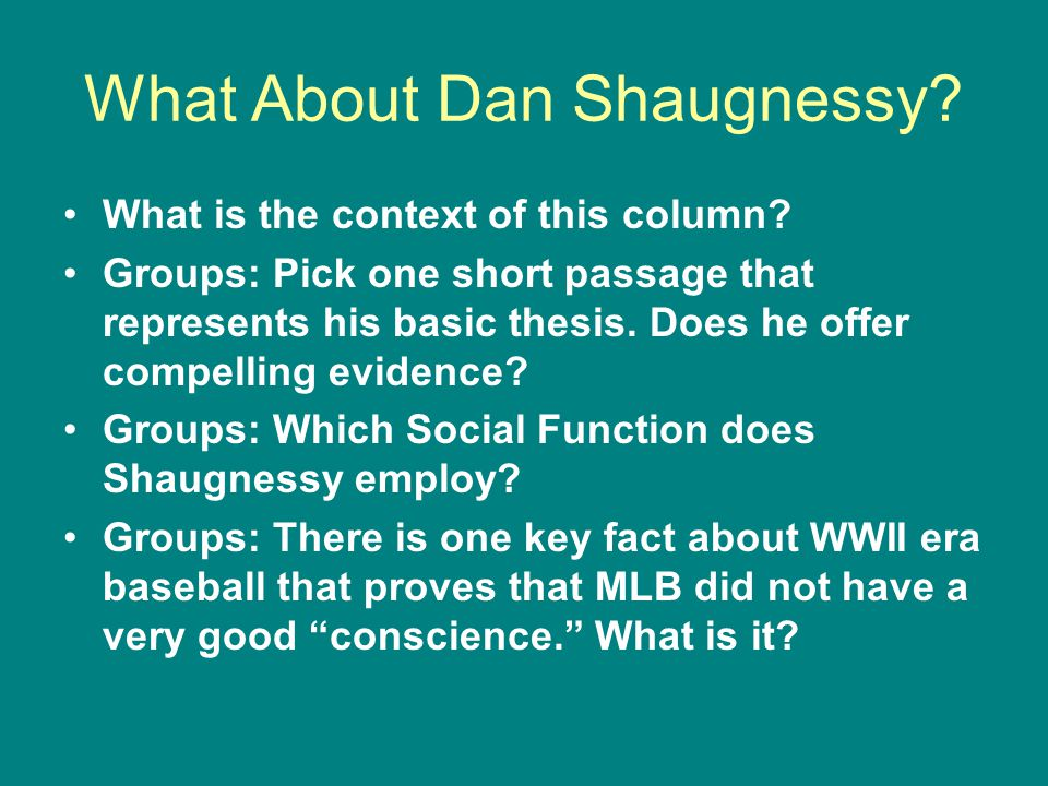 What About Dan Shaugnessy. What is the context of this column.