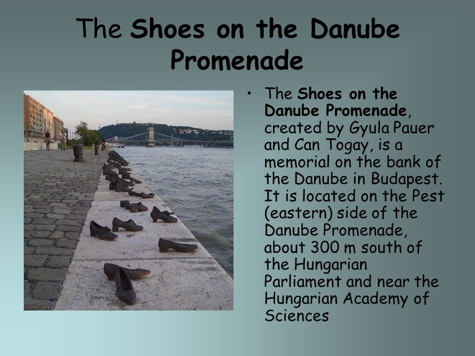 The Shoes on the Danube Promenade The Shoes on the Danube Promenade, created by Gyula Pauer and Can Togay, is a memorial on the bank of the Danube in Budapest.