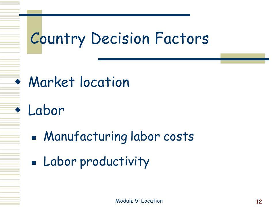12 Module 5: Location Country Decision Factors Market location Labor Manufacturing labor costs Labor productivity