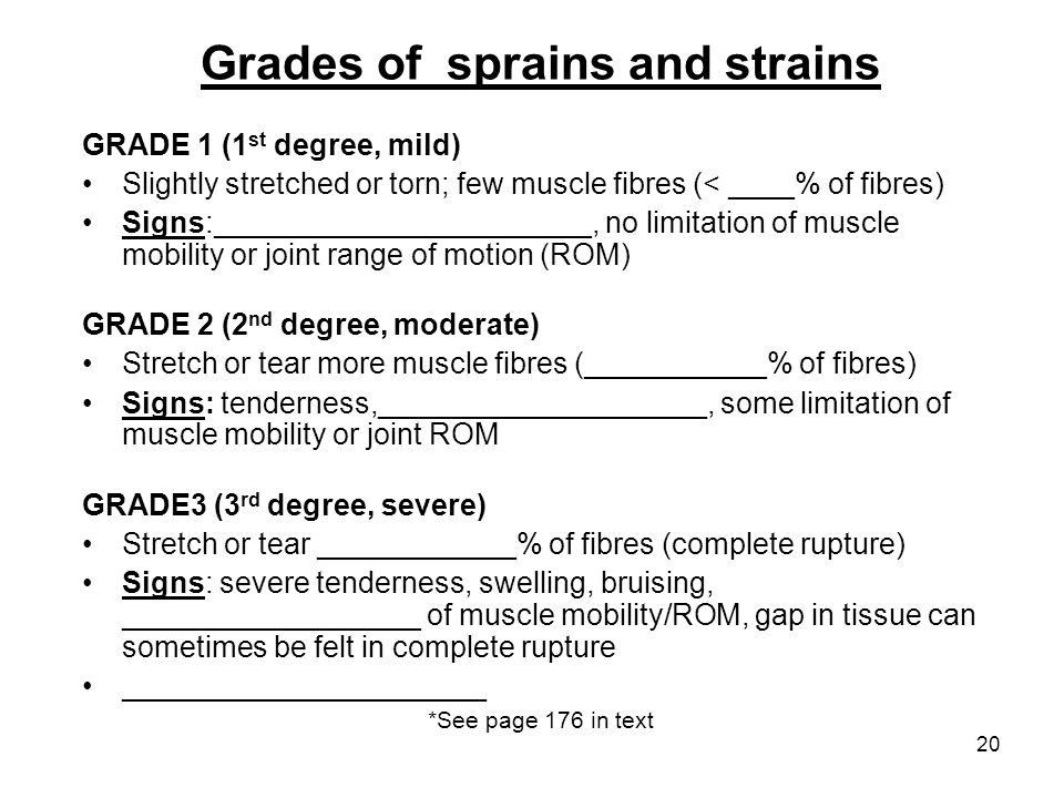 20 Grades of sprains and strains GRADE 1 (1 st degree, mild) Slightly stretched or torn; few muscle fibres (< ____% of fibres) Signs:_________________