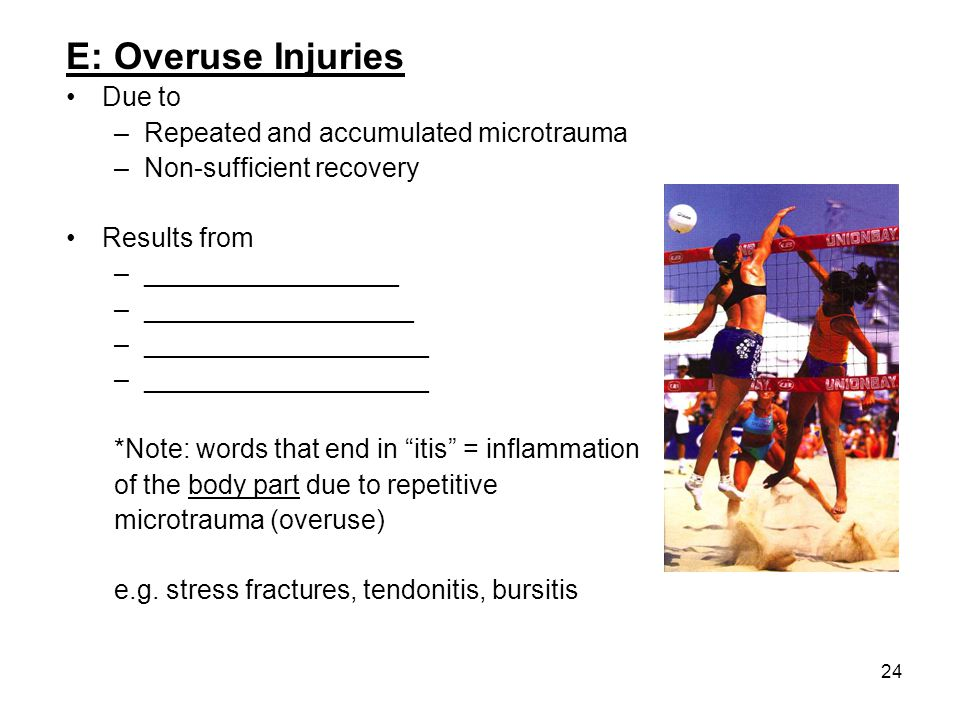 24 E: Overuse Injuries Due to –Repeated and accumulated microtrauma –Non-sufficient recovery Results from –_________________ –__________________ –____