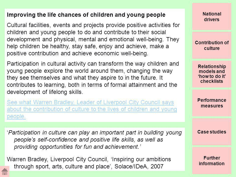 The relationship between culture and Local Area Agreements/ Sustainable Community Strategies Yew Consulting Ltd 2007 Improving the Life Chances of Children and Young People Be HealthyStay SafeEnjoy and Achieve Make a Positive Contribution Increased sense of personal achievement, confidence and self esteem Stronger identification with local community and sense of place Increased skills and confidence to make decisions and deal with lifes changes Increased social interaction and new relationships and role models Improved mental health and feeling of well being Adoption of more active and productive lifestyles Increased employment opportunities Increased knowledge of local services and community issues Engagement of young people in cultural and sport: Activities, performances and events Facilities Information, knowledge and learning opportunities Courses and skills programmes Volunteering opportunities Leadership opportunities Training and employment schemes Mentoring schemes Achieve Economic Well Being Increased educational and workforce skills and qualifications Reduction in bullying, anti- social behaviour and youth offending Increased knowledge of health and healthy lifestyle issues Reduction in accident and injury (water/ cycling related) Increased social and communication skills and creative opportunities Case studies Further information Relationship models and how to do it checklists National drivers Contribution of culture Performance measures