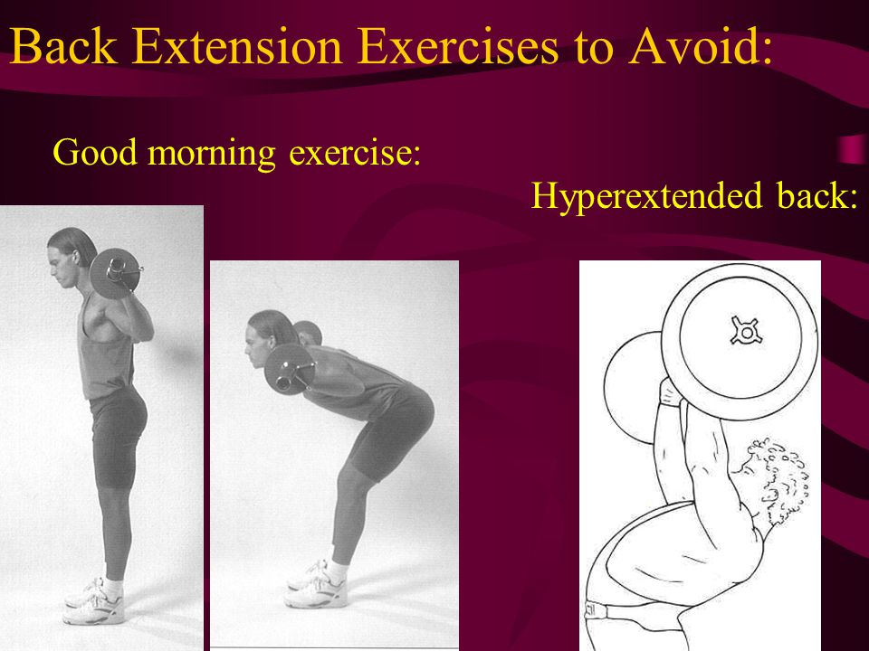 Back Extension Exercises to Avoid: Good morning exercise: Hyperextended back: