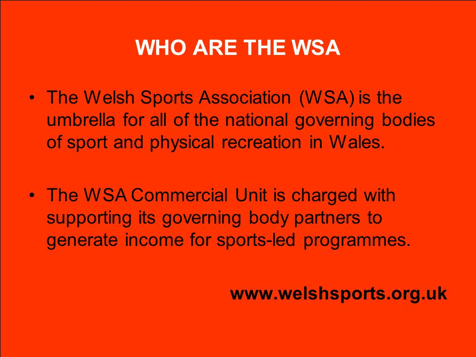WHO ARE THE WSA The Welsh Sports Association (WSA) is the umbrella for all of the national governing bodies of sport and physical recreation in Wales.
