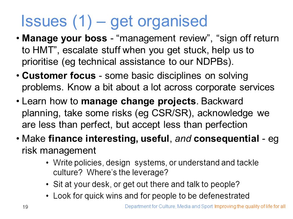 Department for Culture, Media and Sport Improving the quality of life for all 19 Issues (1) – get organised Manage your boss - management review, sign off return to HMT, escalate stuff when you get stuck, help us to prioritise (eg technical assistance to our NDPBs).