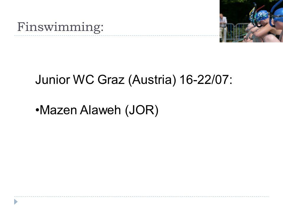 Finswimming: Junior WC Graz (Austria) 16-22/07: Mazen Alaweh (JOR)