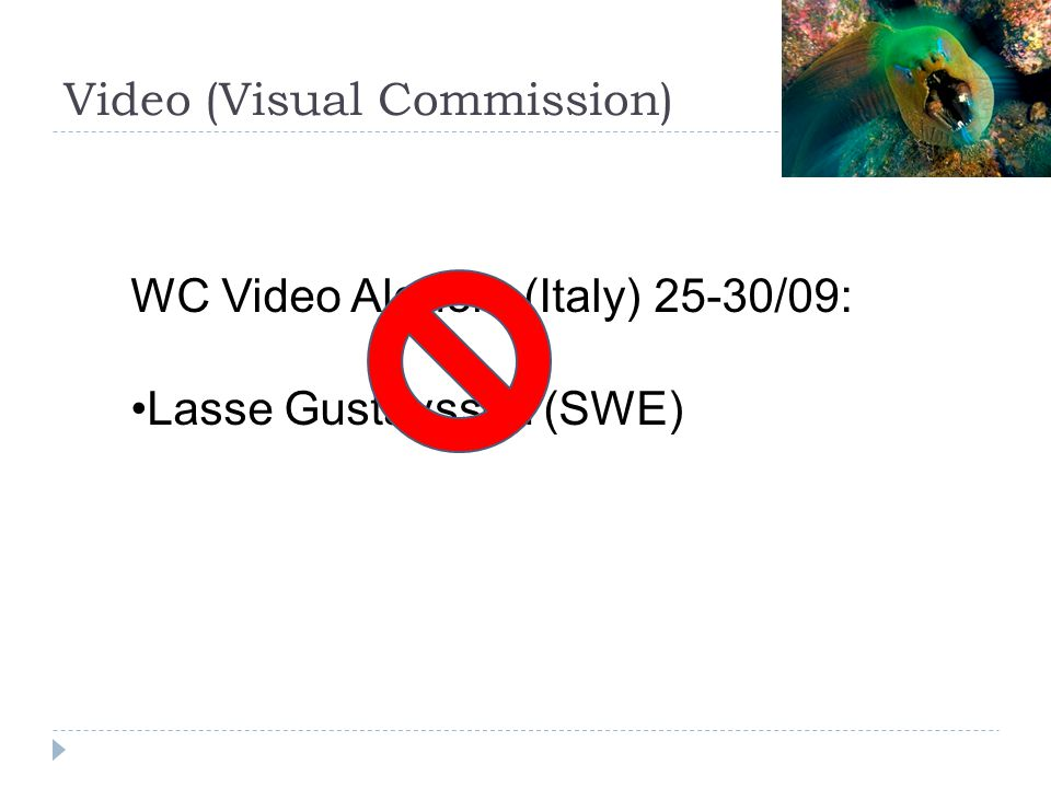Video (Visual Commission) WC Video Alghero (Italy) 25-30/09: Lasse Gustavsson (SWE)