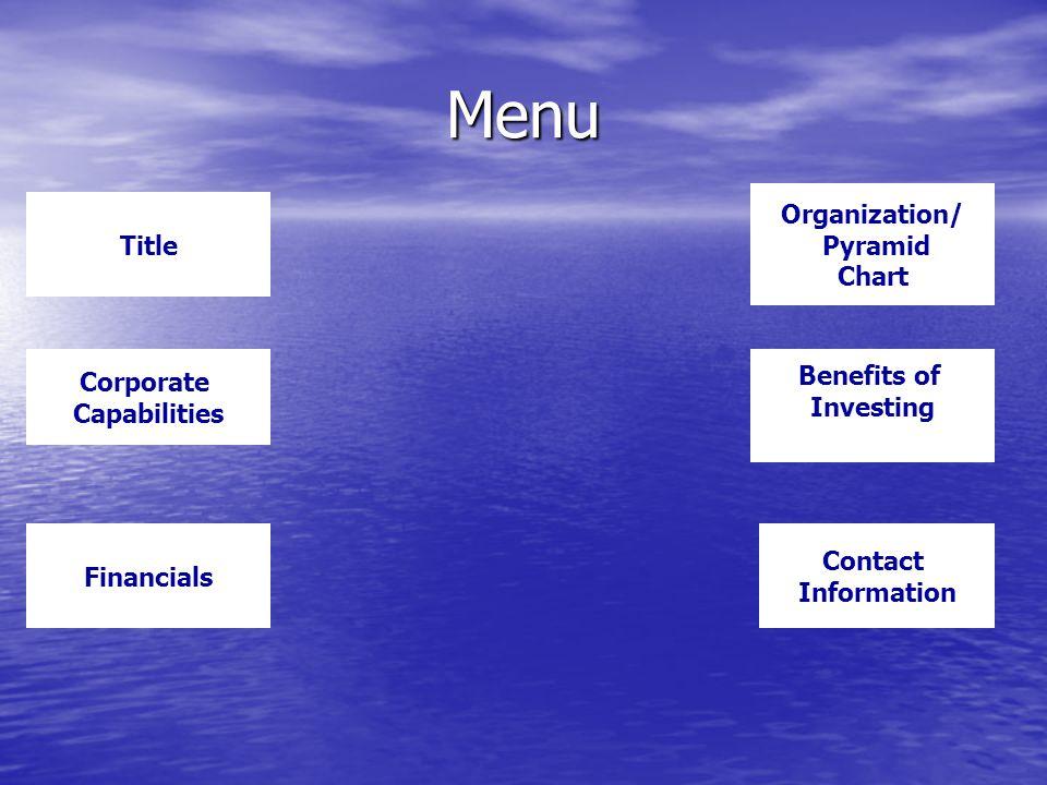 Menu Title Organization/ Pyramid Chart Financials Benefits of Investing Corporate Capabilities Contact Information