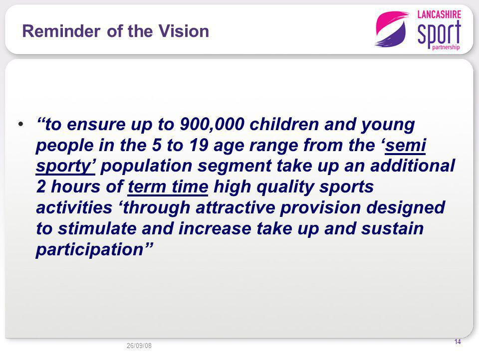 26/09/08 14 Reminder of the Vision to ensure up to 900,000 children and young people in the 5 to 19 age range from the semi sporty population segment take up an additional 2 hours of term time high quality sports activities through attractive provision designed to stimulate and increase take up and sustain participation