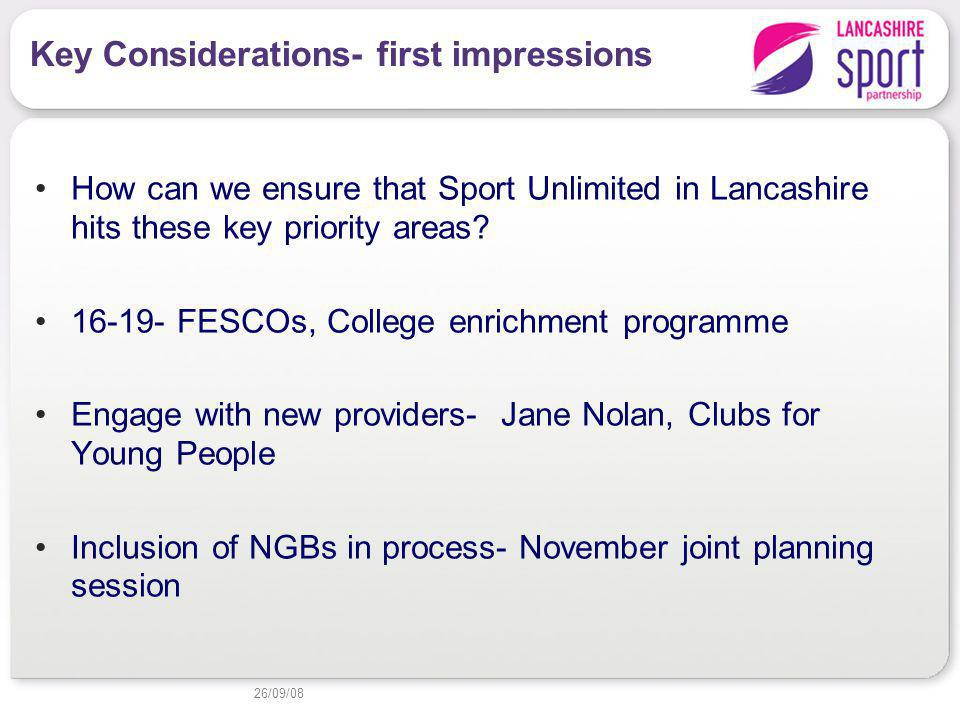 Key Considerations- first impressions How can we ensure that Sport Unlimited in Lancashire hits these key priority areas.