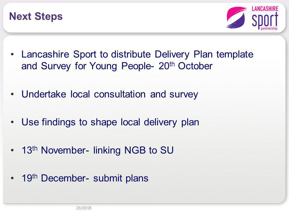 Next Steps Lancashire Sport to distribute Delivery Plan template and Survey for Young People- 20 th October Undertake local consultation and survey Use findings to shape local delivery plan 13 th November- linking NGB to SU 19 th December- submit plans 26/09/08