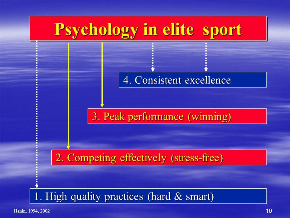 10 Psychology in elite sport 4. Consistent excellence 4. Consistent excellence 3. Peak performance (winning) 3. Peak performance (winning) 2. Competin