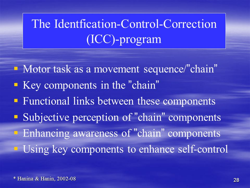 28 The Identfication-Control-Correction (ICC)-program Motor task as a movement sequence/ chain Key components in the chain Functional links between these components Subjective perception of chain components Enhancing awareness of chain components Using key components to enhance self-control * Hanina & Hanin, 2002-08