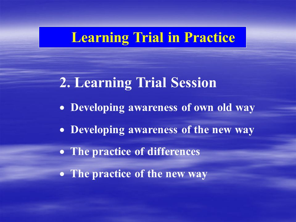 Learning Trial in Practice 2.