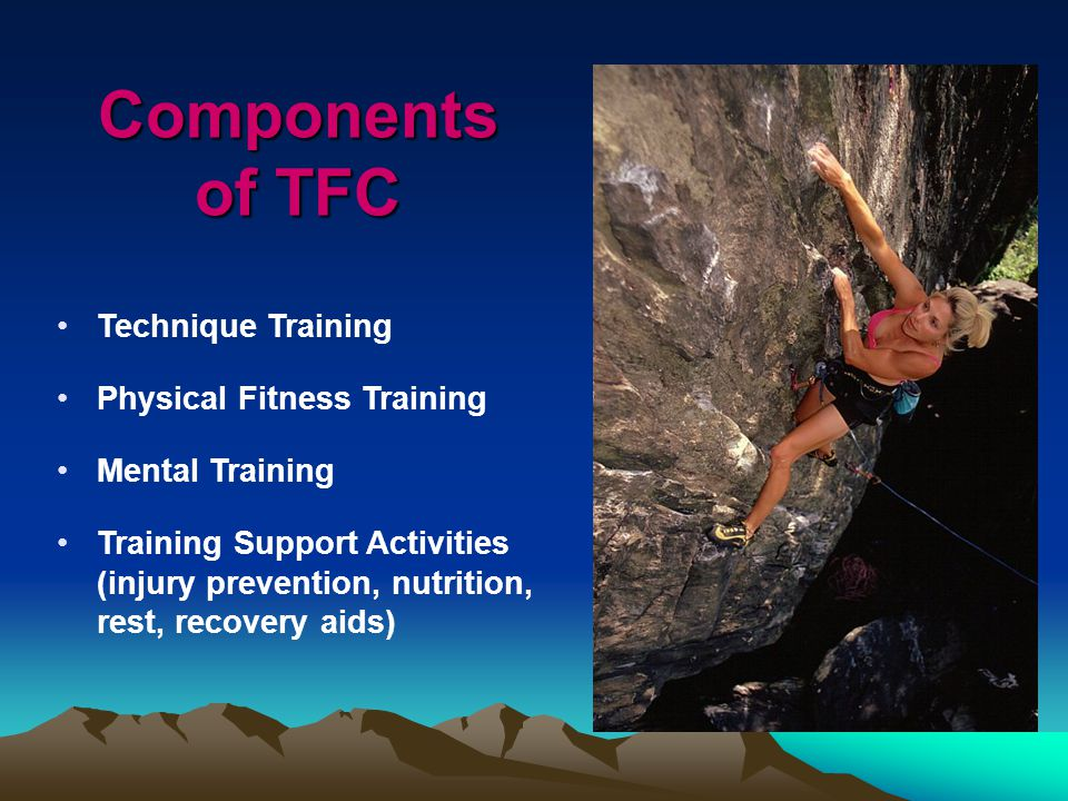 Technique Training Physical Fitness Training Mental Training Training Support Activities (injury prevention, nutrition, rest, recovery aids) Components of TFC