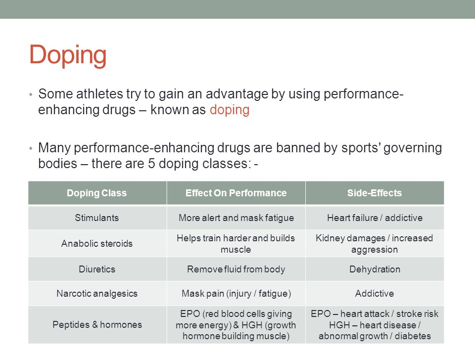 Doping Some athletes try to gain an advantage by using performance- enhancing drugs – known as doping Many performance-enhancing drugs are banned by s