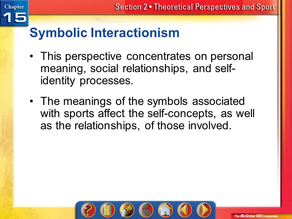Section 2 Symbolic Interactionism This perspective concentrates on personal meaning, social relationships, and self- identity processes. The meanings