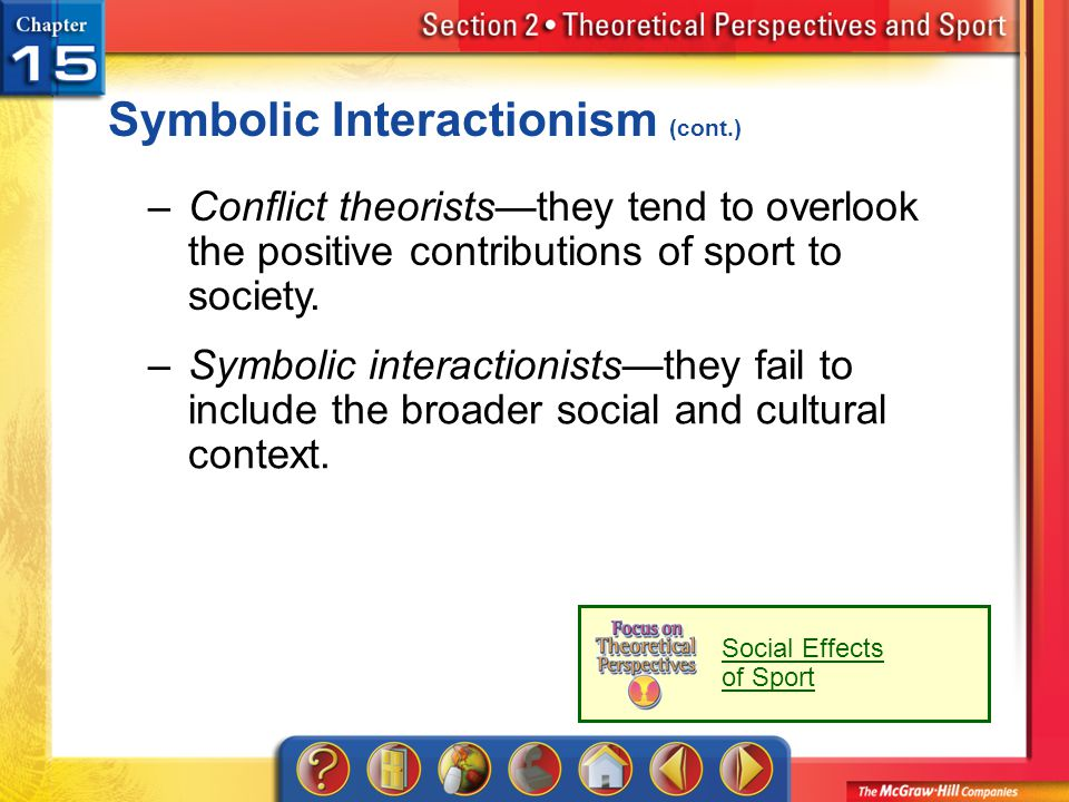 Section 2 Symbolic Interactionism (cont.) –Conflict theoriststhey tend to overlook the positive contributions of sport to society. –Symbolic interacti