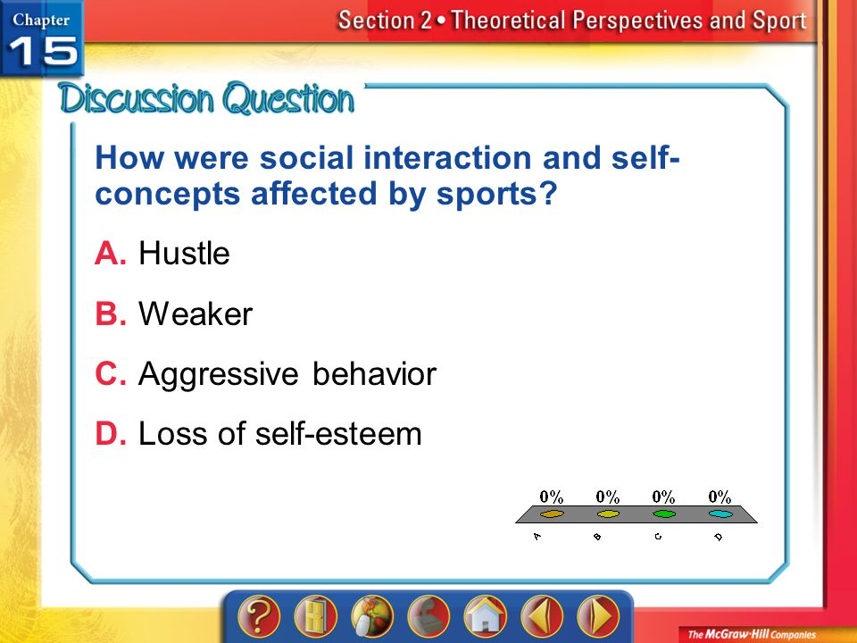 A.A B.B C.C D.D Section 2 How were social interaction and self- concepts affected by sports? A.Hustle B.Weaker C.Aggressive behavior D.Loss of self-es