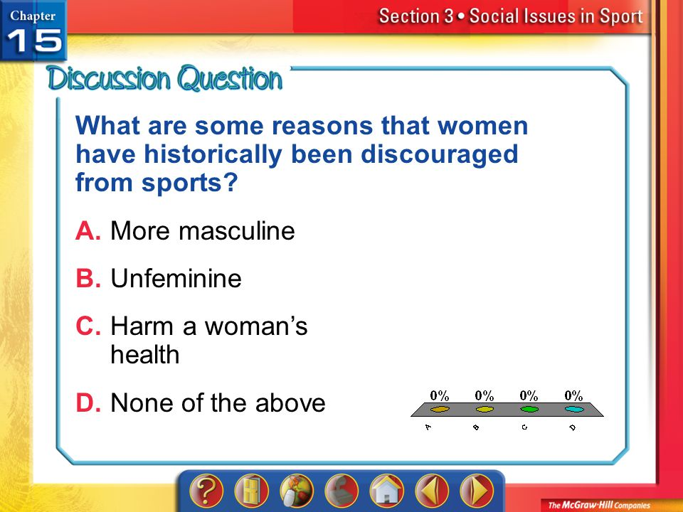 A.A B.B C.C D.D Section 3 What are some reasons that women have historically been discouraged from sports? A.More masculine B.Unfeminine C.Harm a woma