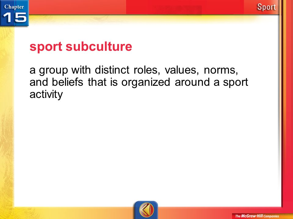 Vocab2 sport subculture a group with distinct roles, values, norms, and beliefs that is organized around a sport activity