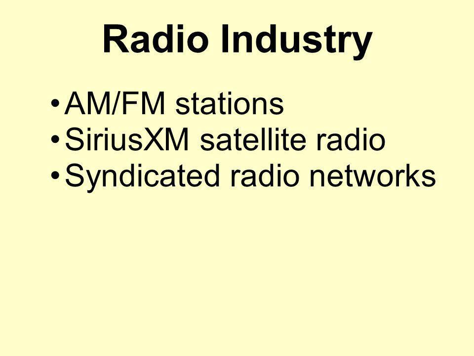 Radio Industry AM/FM stations SiriusXM satellite radio Syndicated radio networks