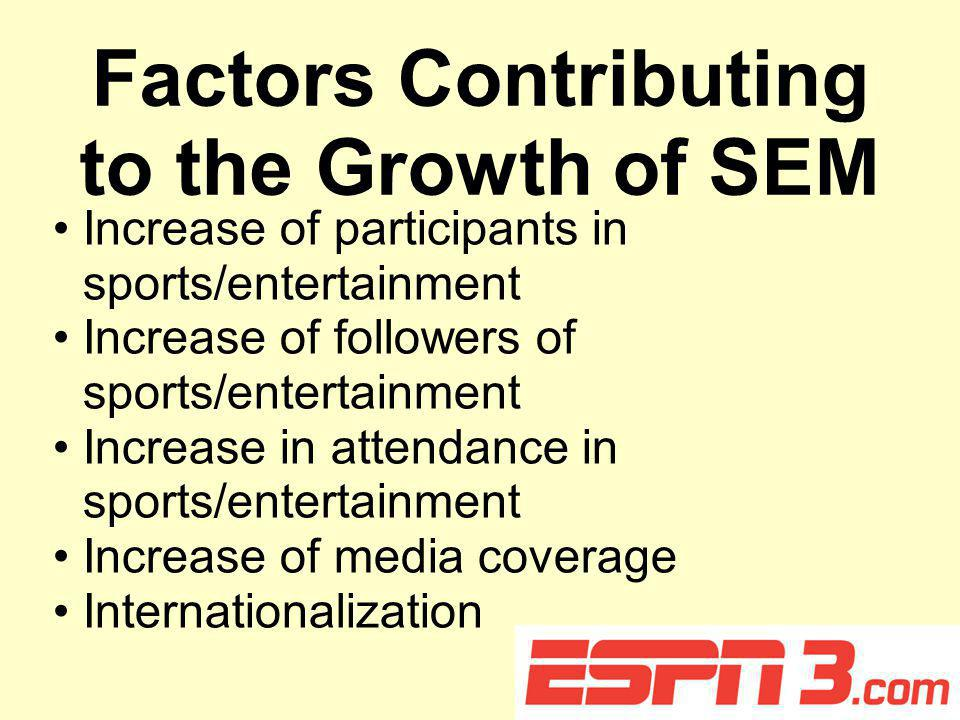 Factors Contributing to the Growth of SEM Increase of participants in sports/entertainment Increase of followers of sports/entertainment Increase in attendance in sports/entertainment Increase of media coverage Internationalization