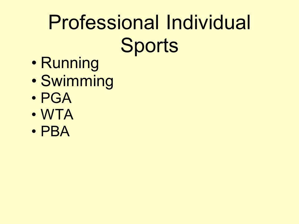 Professional Individual Sports Running Swimming PGA WTA PBA