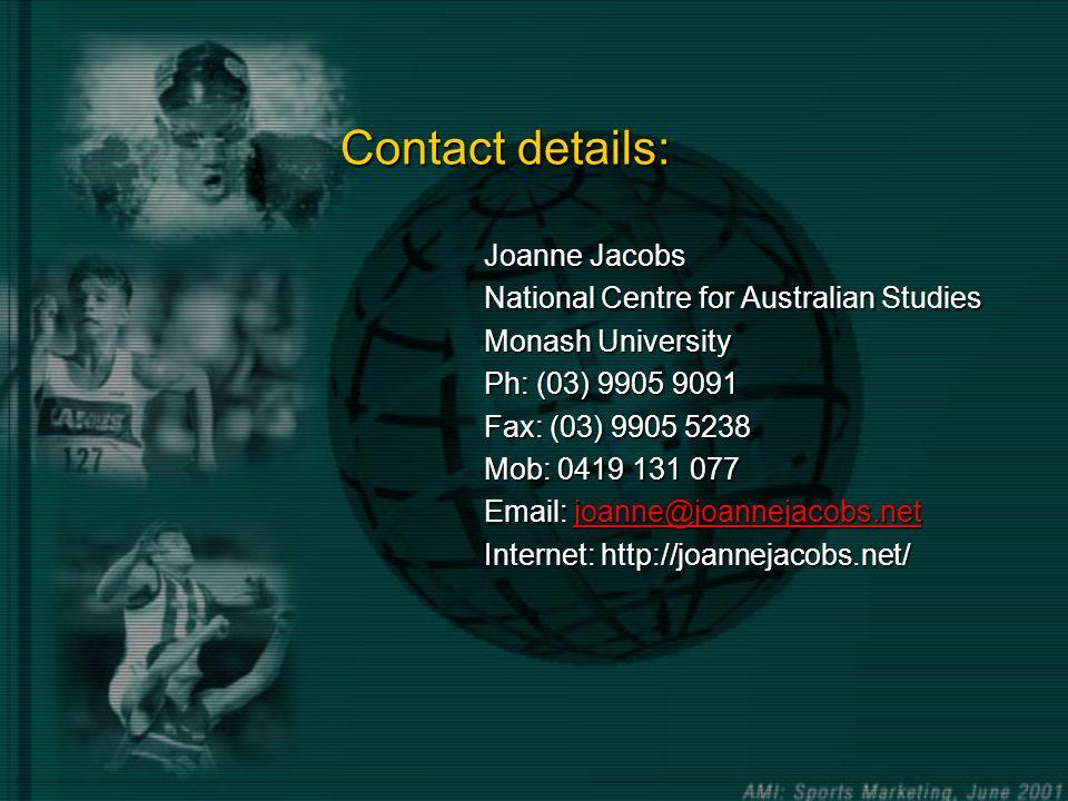 Contact details: Joanne Jacobs National Centre for Australian Studies Monash University Ph: (03) 9905 9091 Fax: (03) 9905 5238 Mob: 0419 131 077 Email: joanne@joannejacobs.net joanne@joannejacobs.net Internet: http://joannejacobs.net/