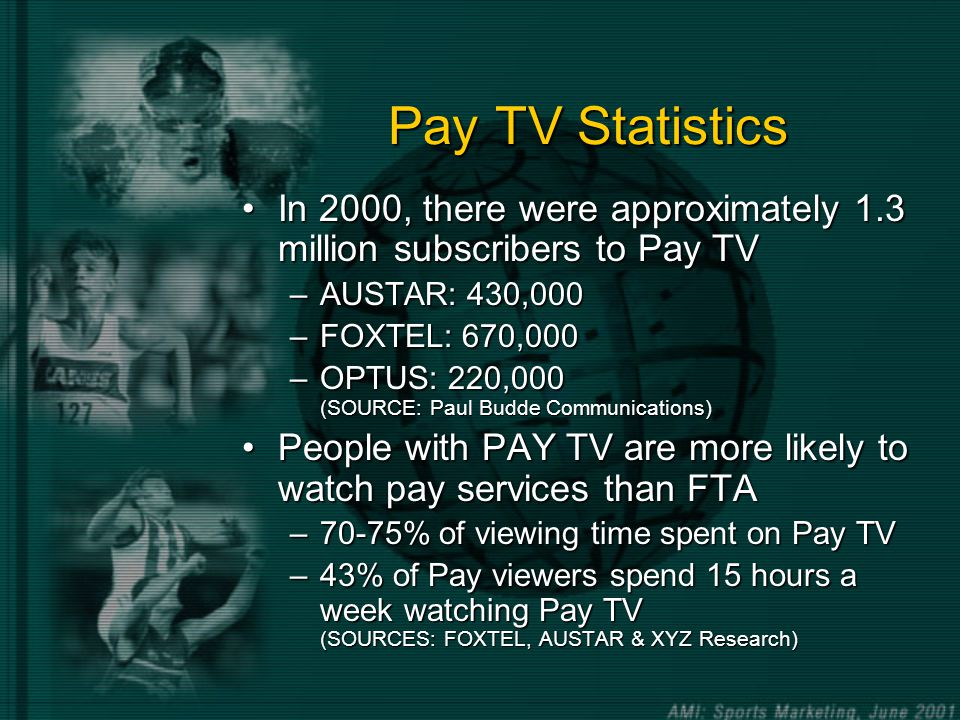 Pay TV Statistics In 2000, there were approximately 1.3 million subscribers to Pay TVIn 2000, there were approximately 1.3 million subscribers to Pay TV –AUSTAR: 430,000 –FOXTEL: 670,000 –OPTUS: 220,000 (SOURCE: Paul Budde Communications) People with PAY TV are more likely to watch pay services than FTAPeople with PAY TV are more likely to watch pay services than FTA –70-75% of viewing time spent on Pay TV –43% of Pay viewers spend 15 hours a week watching Pay TV (SOURCES: FOXTEL, AUSTAR & XYZ Research)