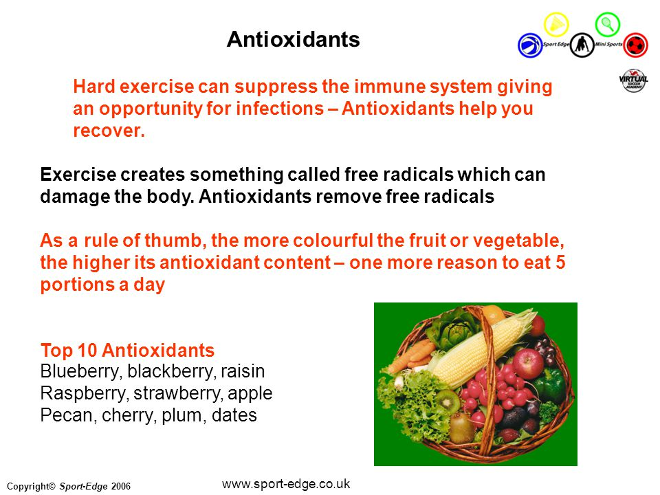 Copyright© Sport-Edge 2006 www.sport-edge.co.uk Antioxidants Hard exercise can suppress the immune system giving an opportunity for infections – Antioxidants help you recover.