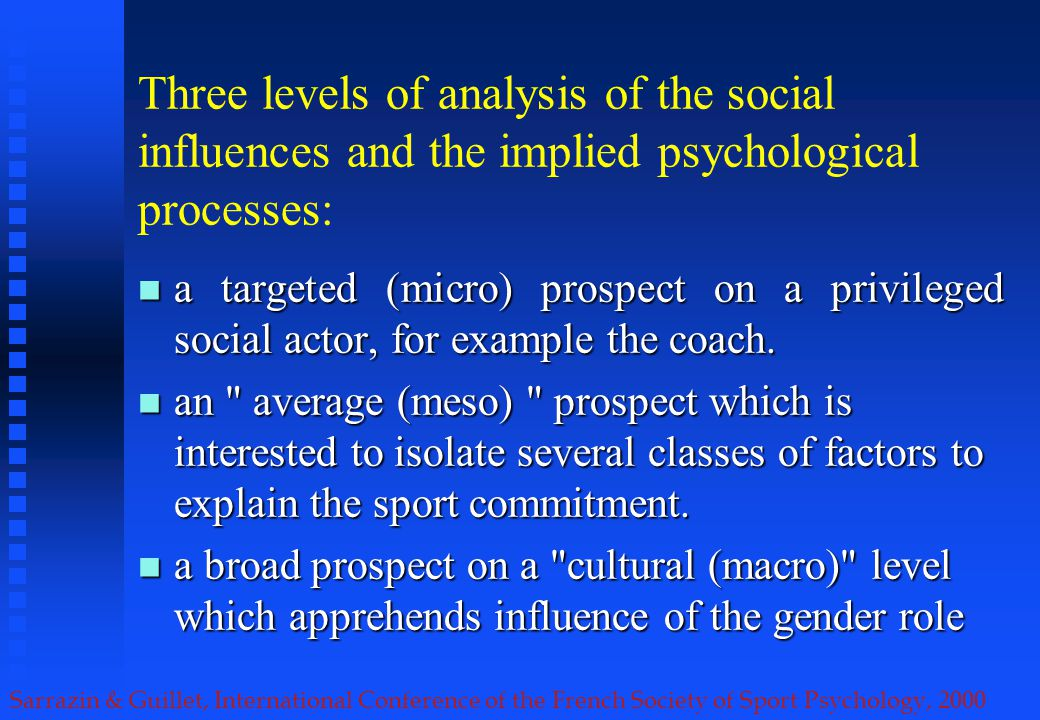 Sarrazin & Guillet, International Conference of the French Society of Sport Psychology, 2000 Three levels of analysis of the social influences and the implied psychological processes: a targeted (micro) prospect on a privileged social actor, for example the coach.