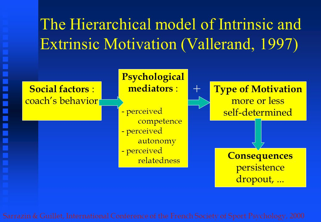 Sarrazin & Guillet, International Conference of the French Society of Sport Psychology, 2000 The Hierarchical model of Intrinsic and Extrinsic Motivation (Vallerand, 1997) Type of Motivation more or less self-determined Social factors : coachs behavior Consequences persistence dropout,...