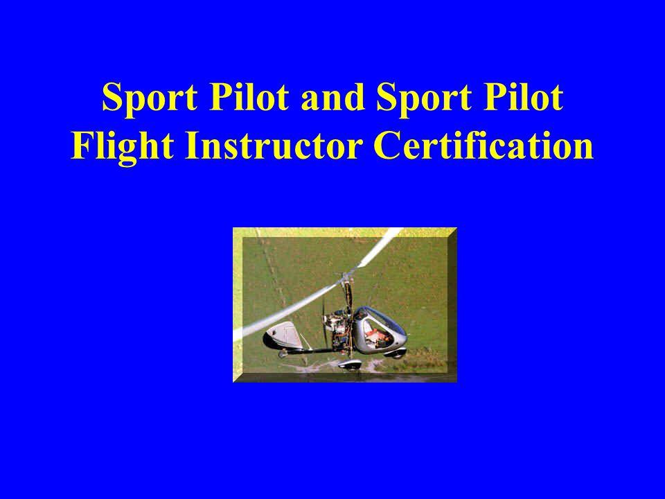 Sport Pilot and Sport Pilot Flight Instructor Certification
