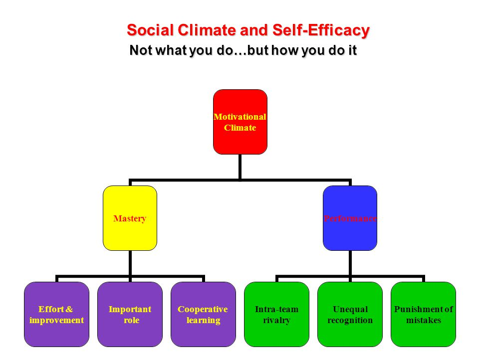 Motivational Climate Mastery Effort & improvement Important role Cooperative learning Performance Intra-team rivalry Unequal recognition Punishment of mistakes Social Climate and Self-Efficacy Social Climate and Self-Efficacy Not what you do…but how you do it Not what you do…but how you do it