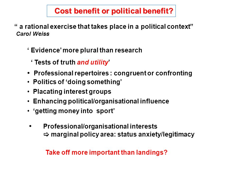 Cost benefit or political benefit. Cost benefit or political benefit.