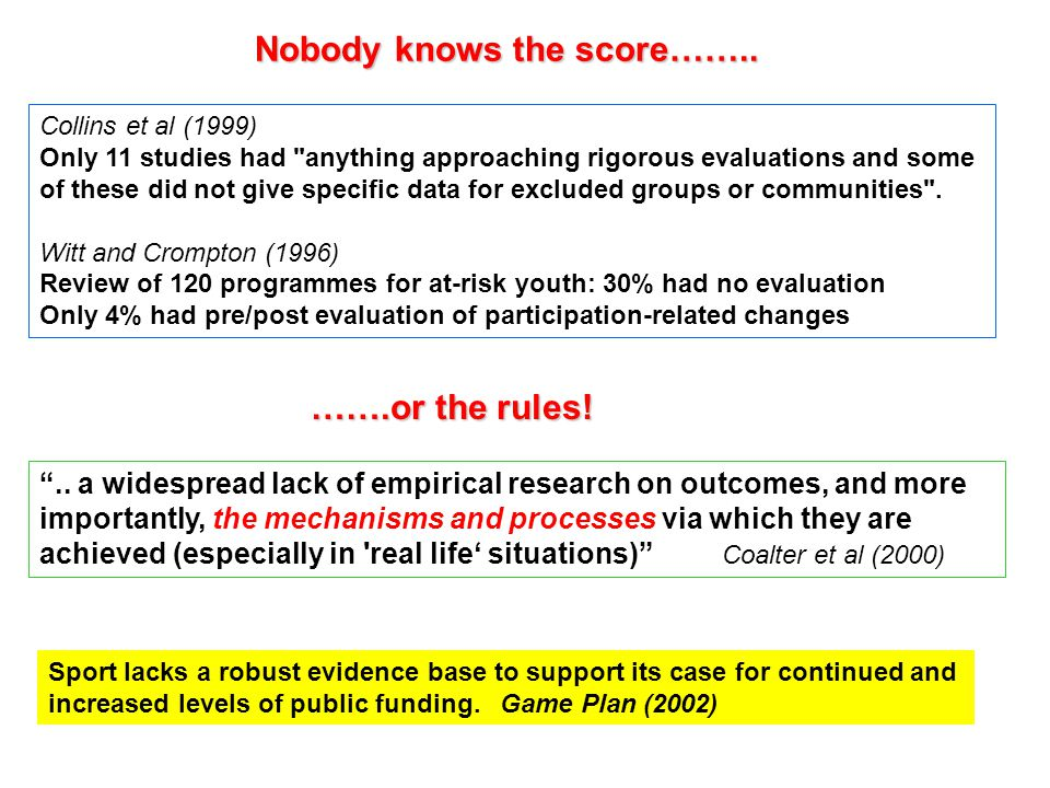 the clearest call for TBE comes when prior evaluations show inconsistent results Weiss (1997) Conceptual weaknesses (1) Sport; participation; frequency; anti-social behaviour Conceptual weakness (2) Causes of crime, educational under-achievement, lack of social cohesion Methodological weaknesses Cross-sectional; lack of controls; self-selection Little consideration of sufficient conditions Process; experience Ill-defined interventions with hard to follow outcomes