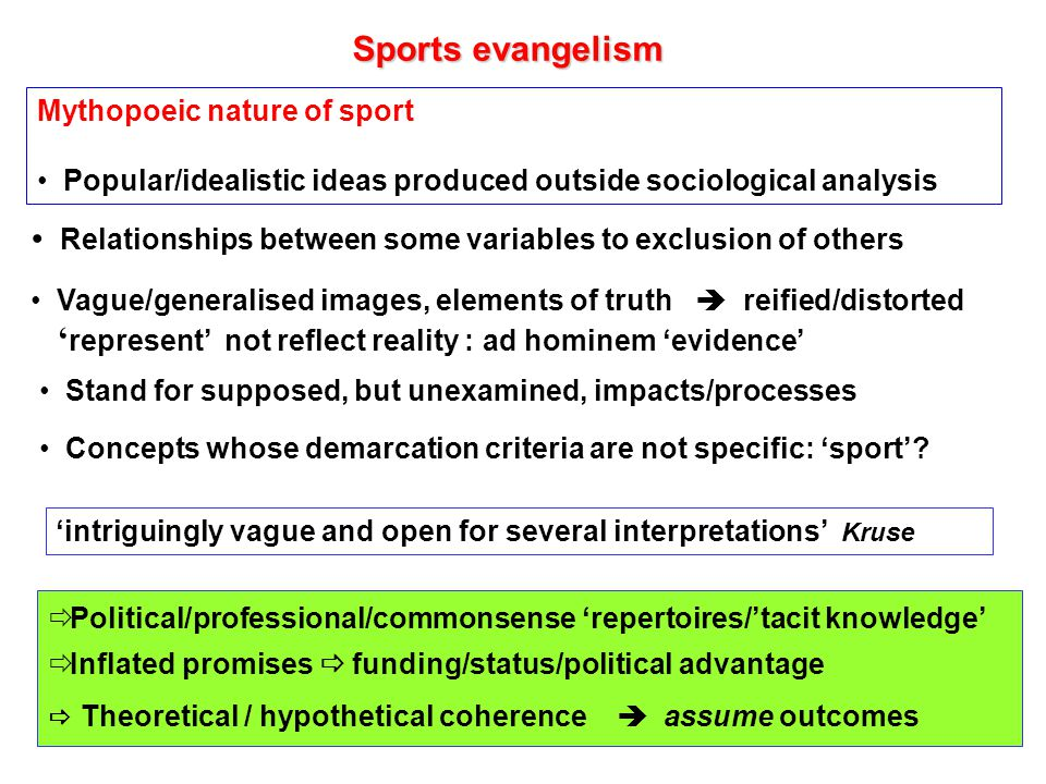 Sport Sport presumed to have causal powers Closed system: medical/treatment model: social vaccine Search for the killer fact/empirical generalisation: Sport can….