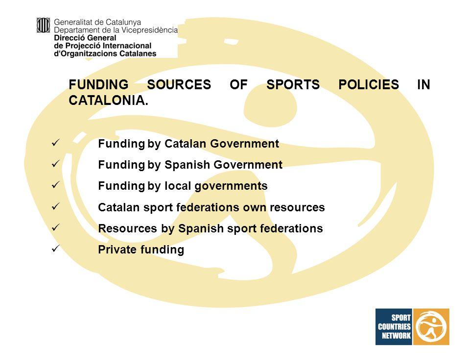 FUNDING SOURCES OF SPORTS POLICIES IN CATALONIA.