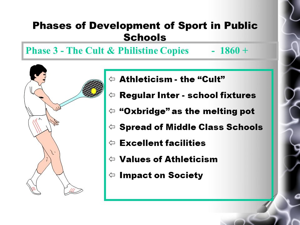 Phases of Development of Sport in Public Schools ïReforms of Dr Arnold 1828 - 1842 ïGames as a medium of social control ïTechnical development ïRegular Inter House competitions ïLink - Christian Gentlemen & Manliness ïTom Browns School Days Phase 2 - Arnoldian 1830 - 1860