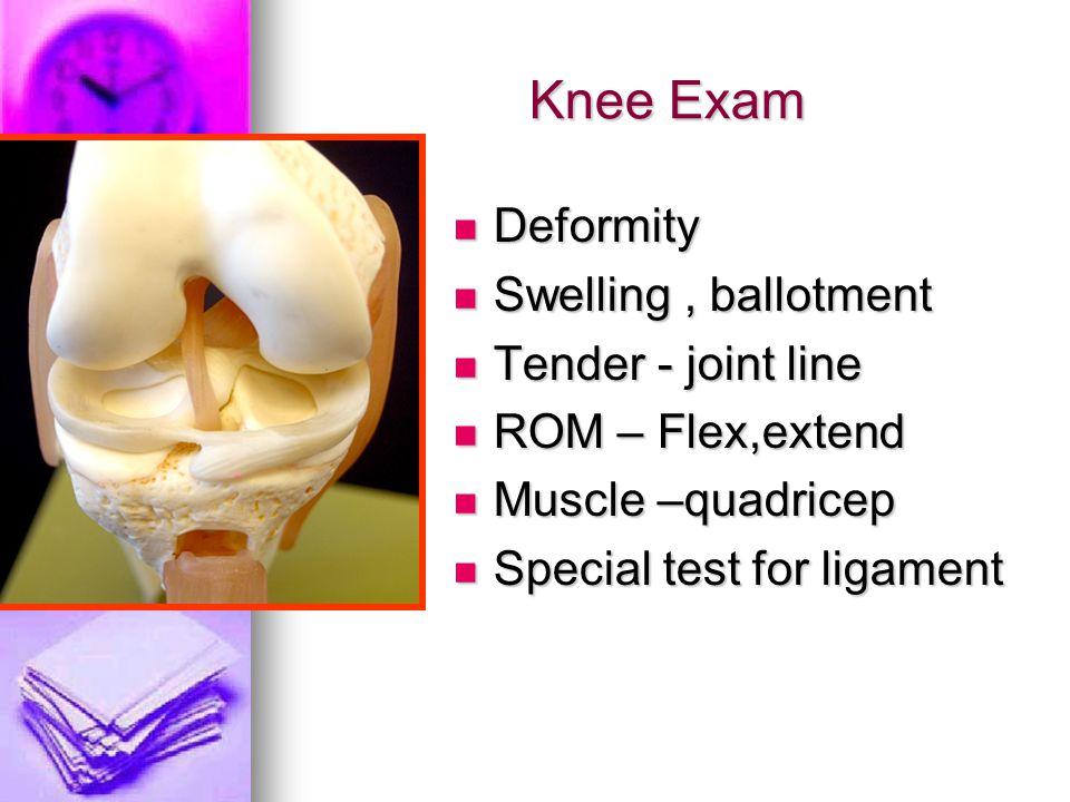 Knee Exam Deformity Deformity Swelling, ballotment Swelling, ballotment Tender - joint line Tender - joint line ROM – Flex,extend ROM – Flex,extend Mu